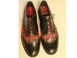 Black Calf Leather with Royal Stewart Tartan