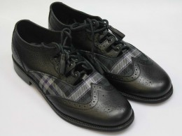 Black Ghillie Brogues with Black Grain Calf Leather