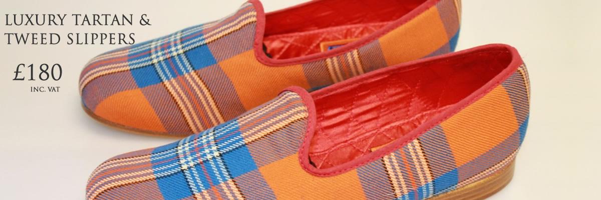 Luxury tartan or tweed slippers