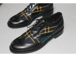 Black Calf leather with Scottish Spun Tartan