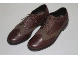 Dark Brown Calf Leather with Harris Tweed